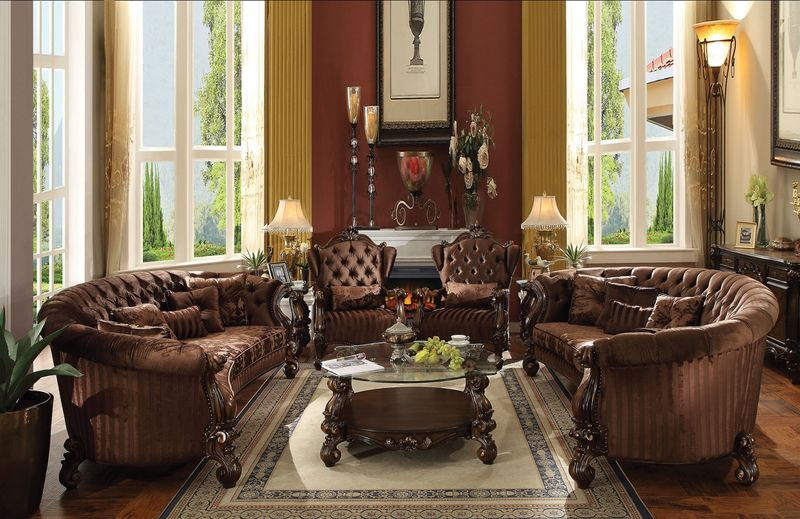 Versailles Crescent Living Room Set in Brown