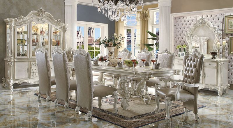 Acme | 61130 Versailles Large Formal Dining Room Set in White ...