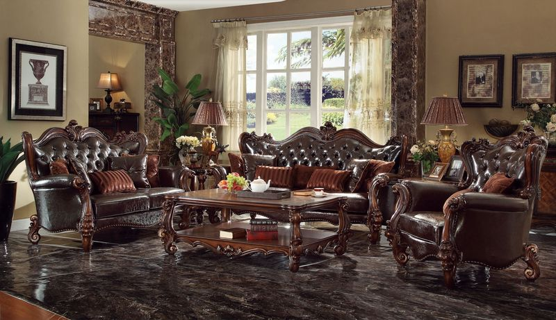Attractive Versailles Formal Living Room Set In Dark Brown ...