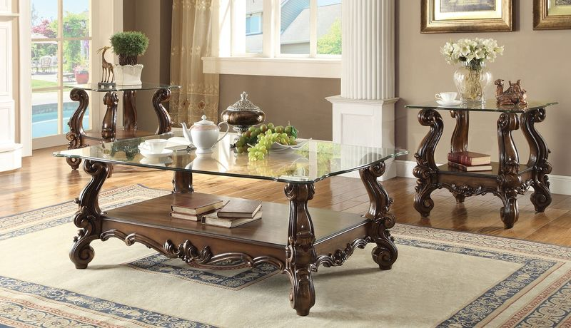Versailles Coffee Table Set in Cherry with Glass Top
