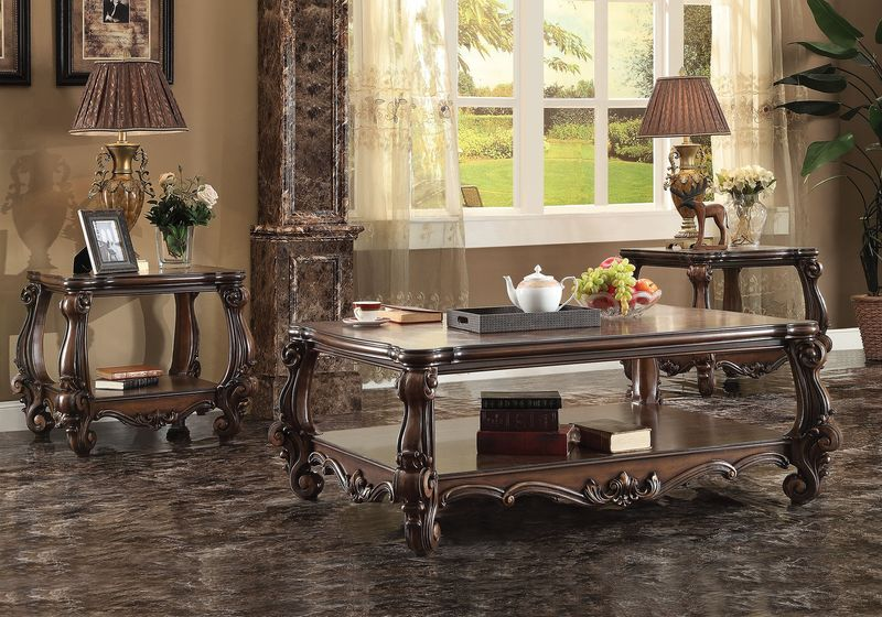 Versailles Coffee Table Set in Dark Cherry