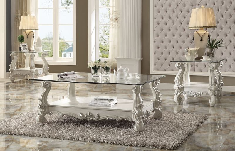 Versailles Coffee Table Set in White with Glass Top