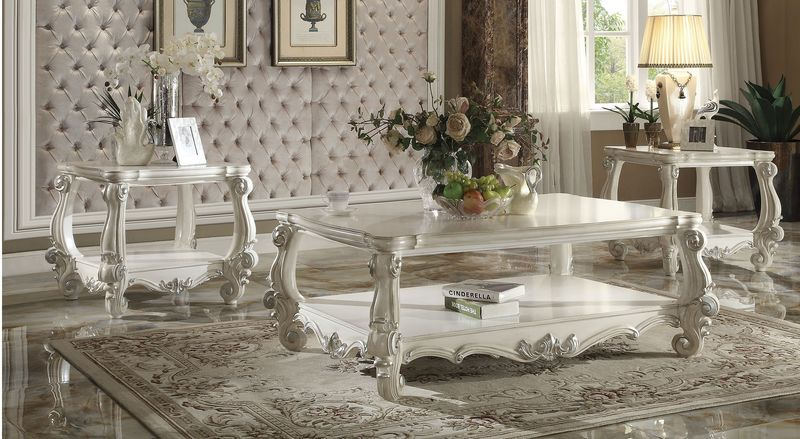 Versailles Coffee Table Set in White
