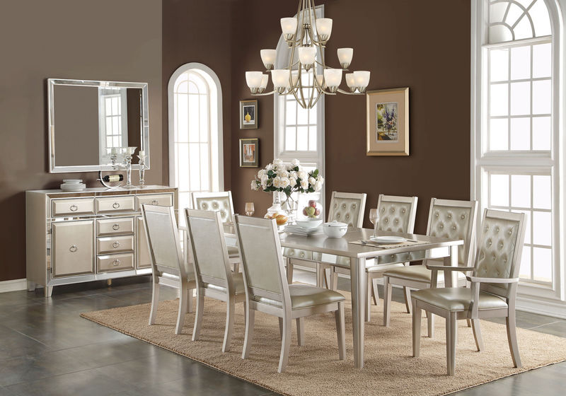 Voeville Formal Dining Room Set in Platinum