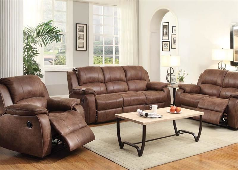 Zanthe Reclining Living Room Set in Brown Suede