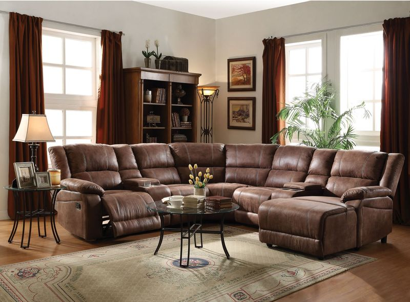 Zanthe Reclining Sectional in Brown Suede