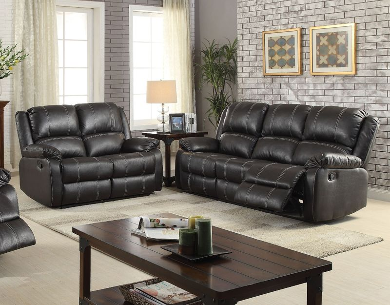 Zuriel Reclining Living Room Set in Black