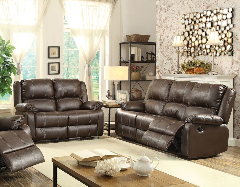 Zuriel Reclining Living Room Set in Brown