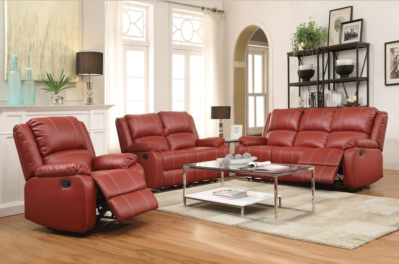 Zuriel Reclining Living Room Set in Red