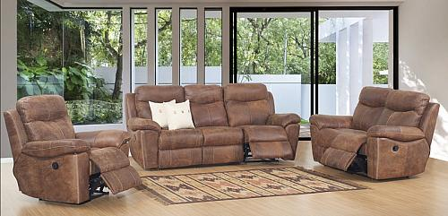 Letaba Natural Grain Exotic Leather Reclining Living Room Set