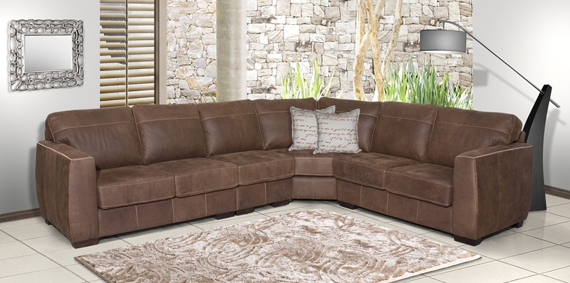 African Heritage Makena Natural Grain Exotic Leather Sectional Sofa