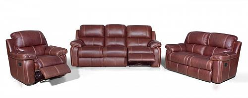 Zuri Natural Grain Exotic Leather Reclining Living Room Set