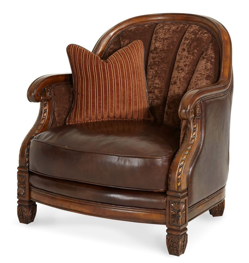 Windsor Court Wood Trim Fabric and Leather Barrel Chair