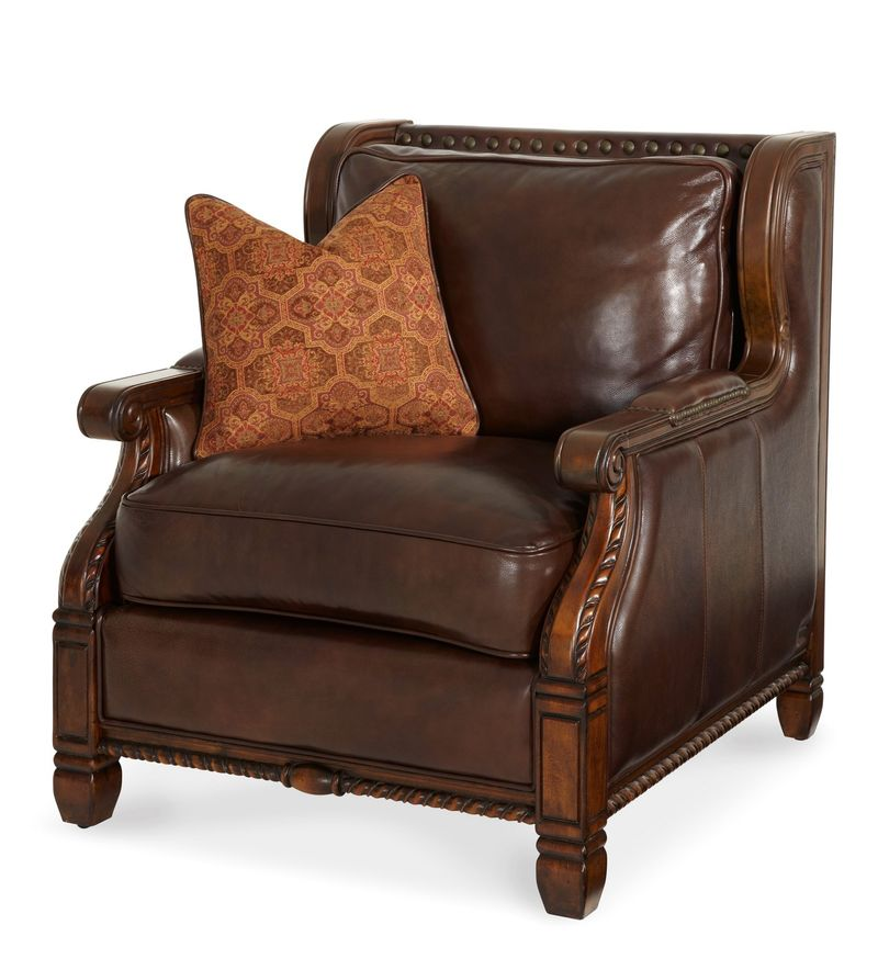 Windsor Court Wood Trim Fabric and Leather Club Chair