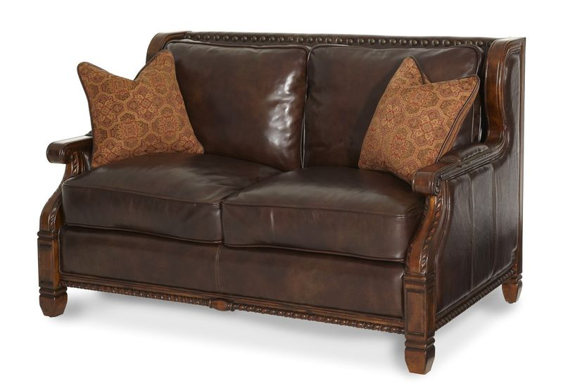 Windsor Court Wood Trim Fabric and Leather Loveseat