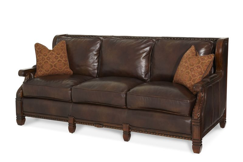 Windsor Court Wood Trim Fabric and Leather Sofa
