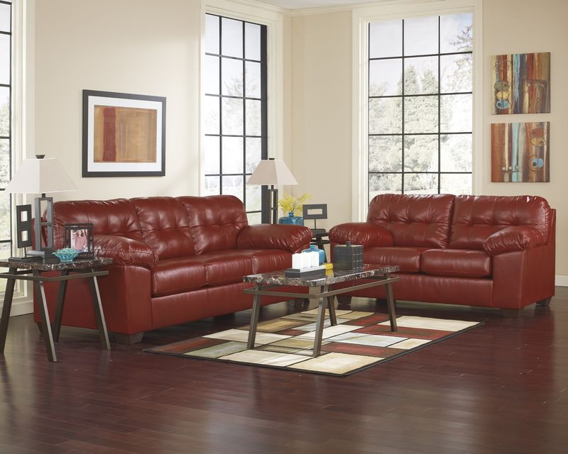Alliston Living Room Set in Red