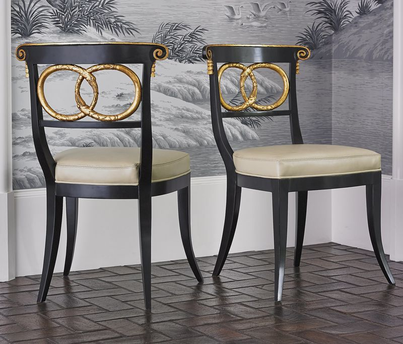 Dolphin Dining Chair In Black/Gold