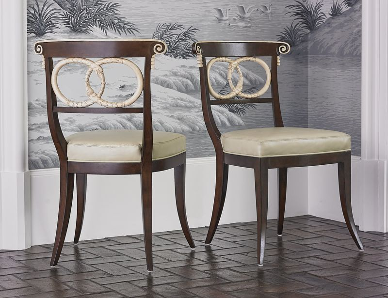 Dolphin Dining Chair in Walnut/Ivory