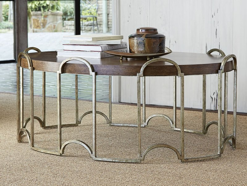 French Key Oval Cocktail Table