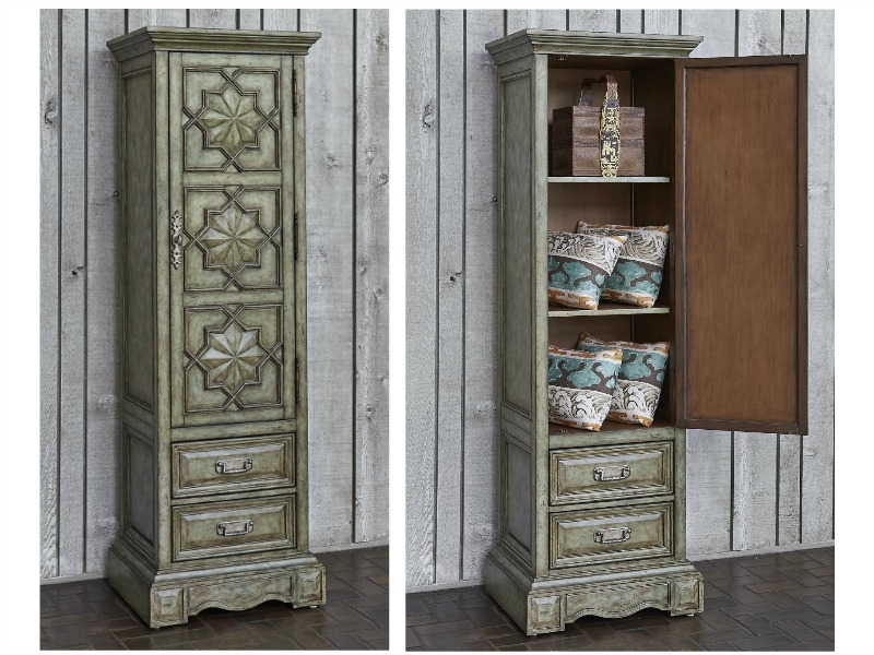Medallion Tall Single Door Cabinet in Blue