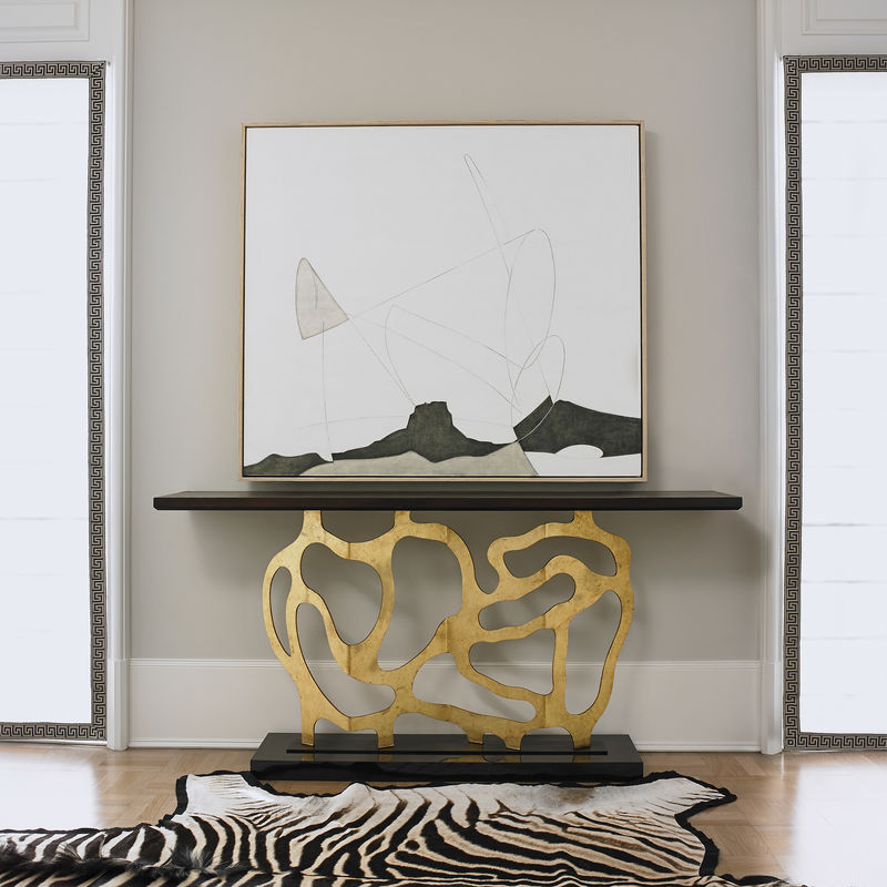 Sculpted Console Table in Gold