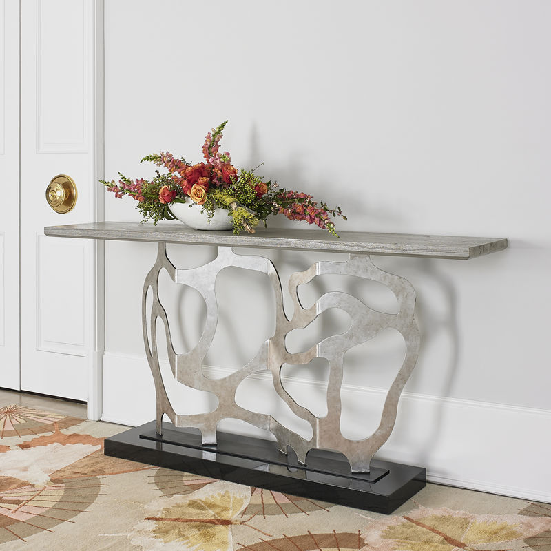 Sculpted Console Table in Silver