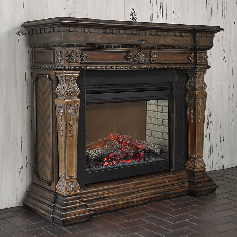 St. Andrews Electric Fireplace    Pine Wood Construction  Two Tone Finish  Ornately Carved  30 Firebox is Surrounded by Granite  Features OnOff Remote  Two Stage Heat Control  58 Wide x 20 Deep x 51 High  Free Delivery