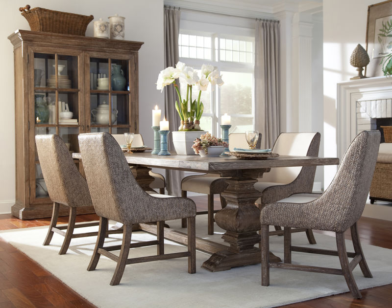 Voranado Dining Room Set with Woven Chairs
