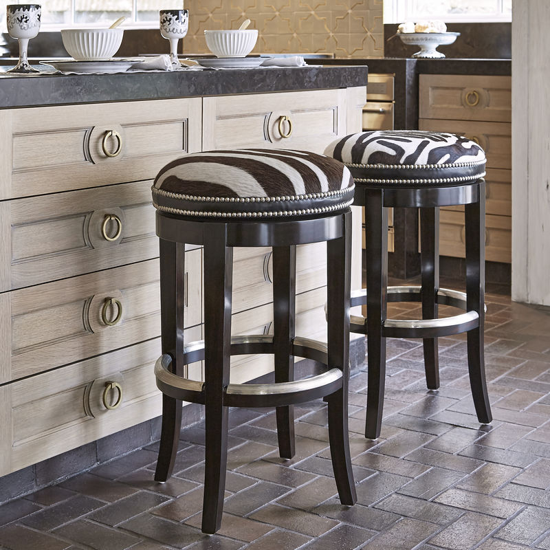 Zebrano Swivel Barstool Backless
