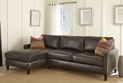 Anguilla Leather Sectional in Brown