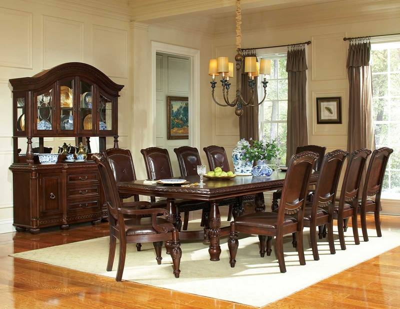 Antoinette Formal Dining Room Set with Large Pedestal Table