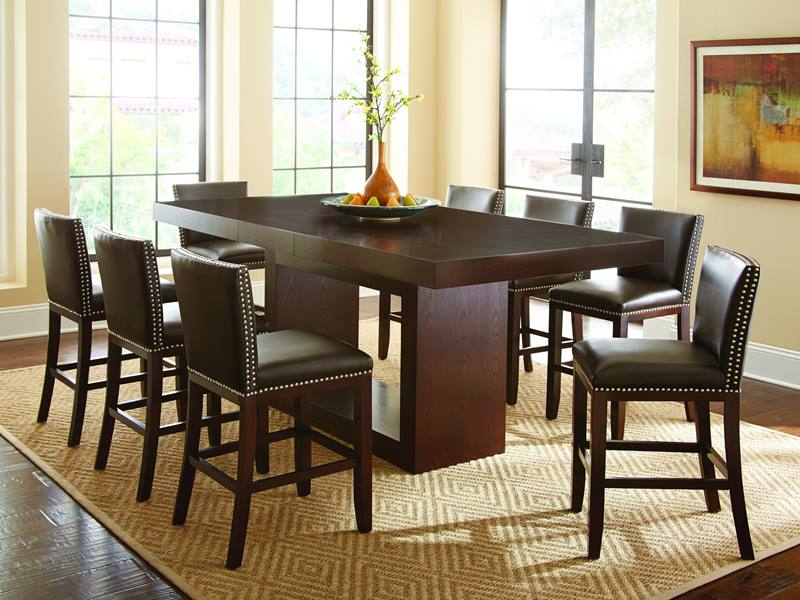 Antonio III Counter Height Table Set with Dark Brown Nailhead Chairs