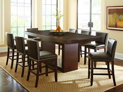 Antonio III Counter Height Table Set with Dark Brown Chairs