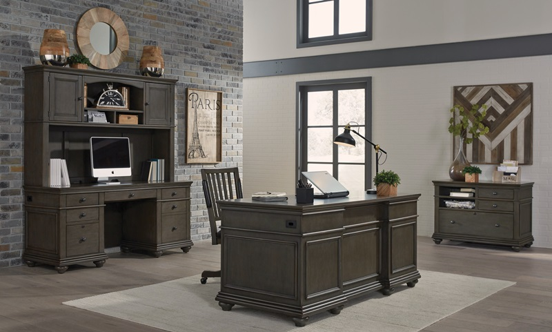 Oxford Executive Desk Office Set in Peppercorn *Clearance*