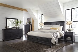 Oxford Black Panel Bedroom Set with Storage Bed