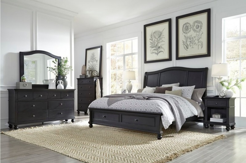 I07 Oxford Black Sleigh Storage Bedroom Aspen Home Free Delivery
