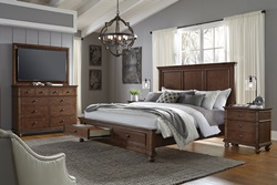 Oxford Brown Panel Bedroom Set with Storage Bed