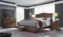 Oxford Brown Sleigh Bedroom Set with Storage Bed
