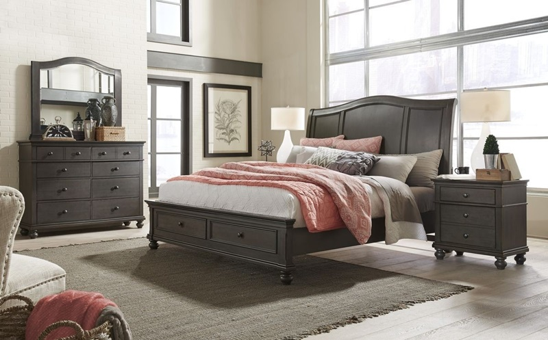 I07 Oxford Peppercorn Sleigh Storage Bedroom Aspen Home Free Delivery
