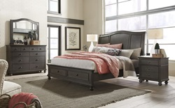 Oxford Peppercorn Sleigh Bedroom Set with Storage Bed