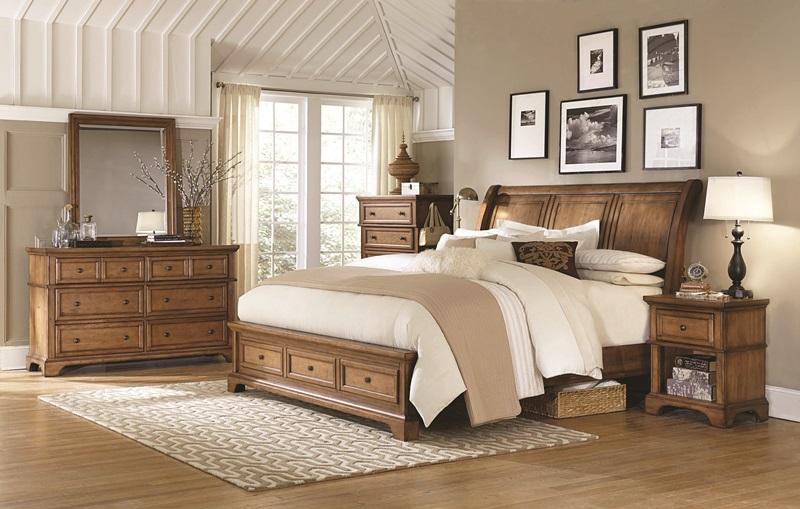 Alder Creek Sleigh Bedroom Set with Storage Bed