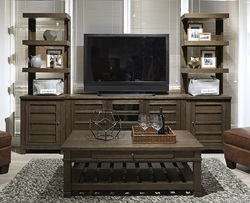 Tucker Entertainment Center with Open Piers in Bark
