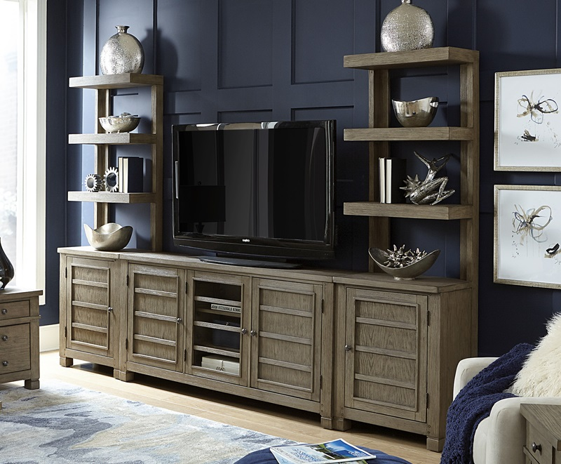 Tucker Entertainment Center with Open Piers in Stone