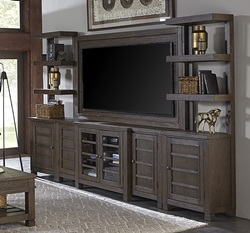 Tucker Large Entertainment Center with Open Piers in Bark