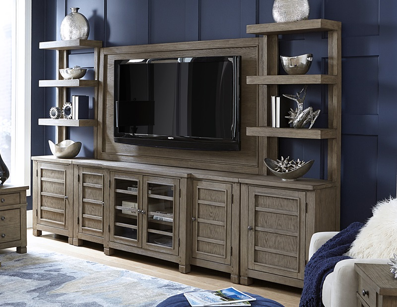 Tucker Large Entertainment Center with Open Piers in Stone