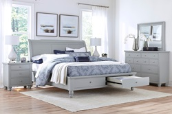 Cambridge Sleigh Storage Bedroom Set in Grey