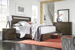 Modern Loft Brown Panel Bedroom Set with Storage Bed