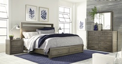Modern Loft Grey Panel Bedroom Set with Storage Bed