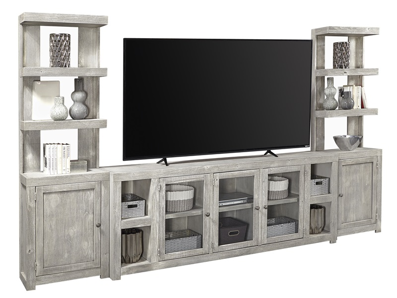 Avery Loft Entertainment Center with Open Piers in Limestone
